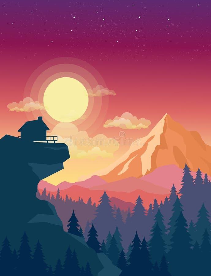 L'illustrazione di vettore della casa sopra la montagna con il bello tramonto in montagne abbellisce su fondo, sole e royalty illustrazione gratis