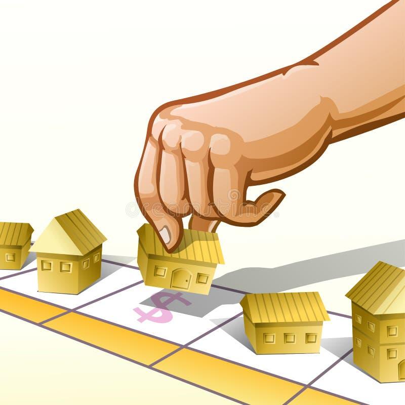 L'illustrazione di vettore della mano ha messo la proprietà a bordo del gioco illustrazione vettoriale