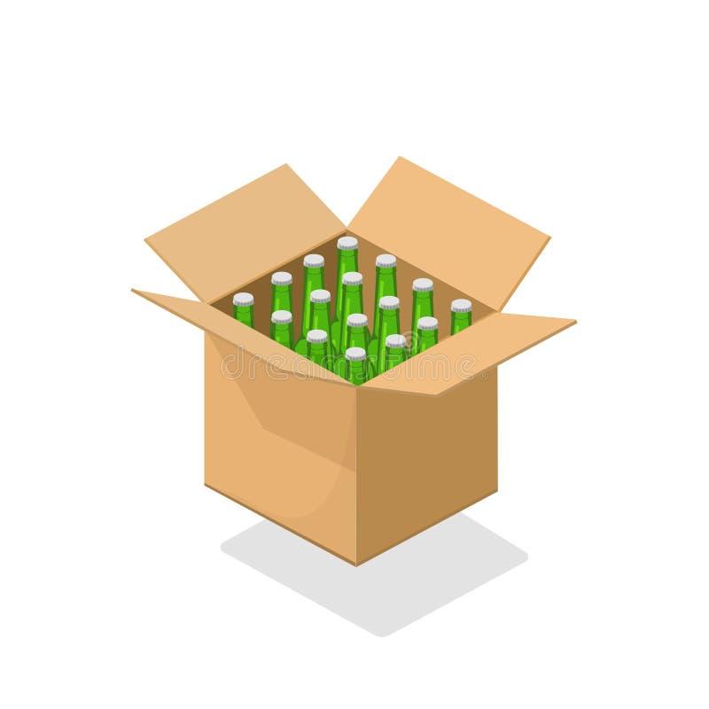 L'illustrazione di vettore della scatola di cartone delle bottiglie di birra, pacchetto isometrico della bevanda delle birre del  illustrazione vettoriale