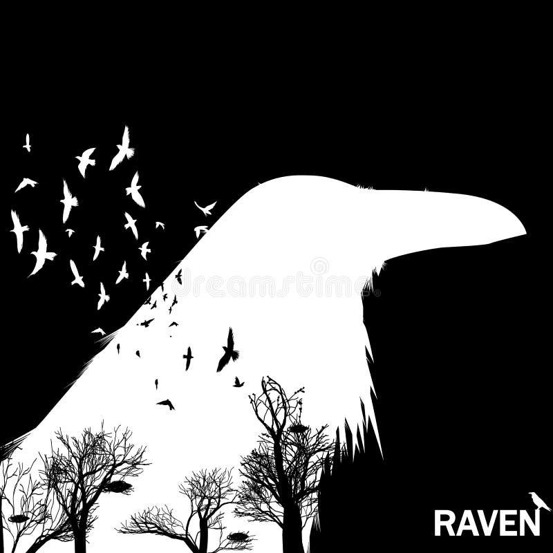 L'illustrazione di vettore della siluetta della testa del corvo con l'ondeggiamento traversa Effetto di doppia esposizione illustrazione vettoriale