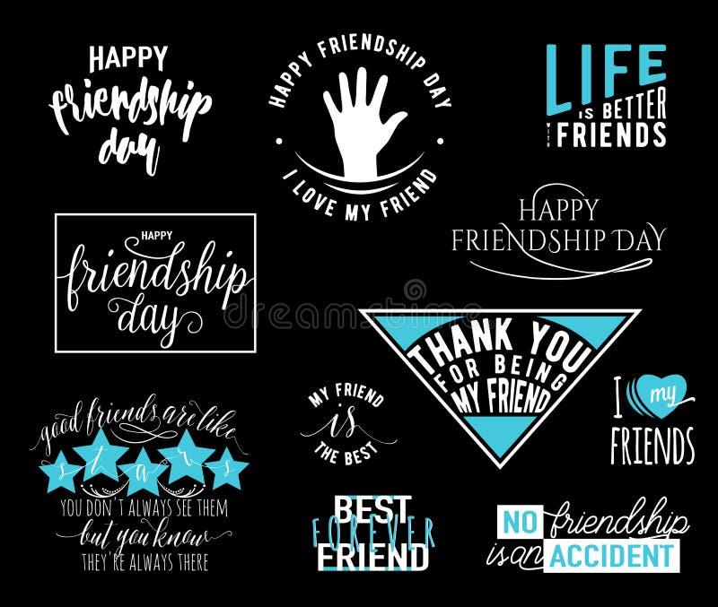 L'illustrazione di vettore delle sovrapposizioni felici di tipografia del giorno di amicizia che segnano le etichette con lettere royalty illustrazione gratis