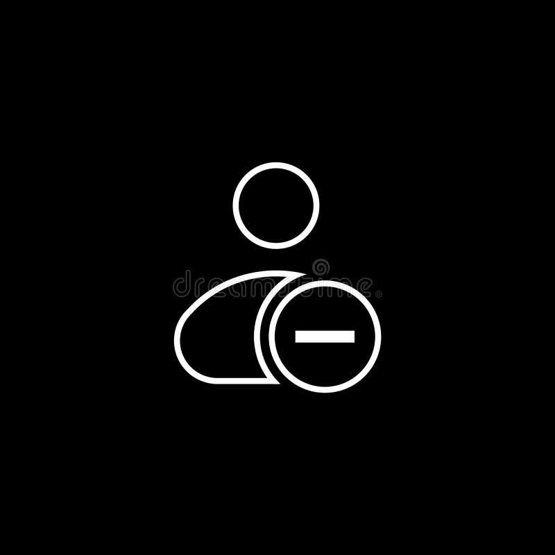 L'illustrazione di vettore di rimuove l'icona di azione di utente modello dell'elemento dell'interfaccia utente del bottone del m illustrazione di stock