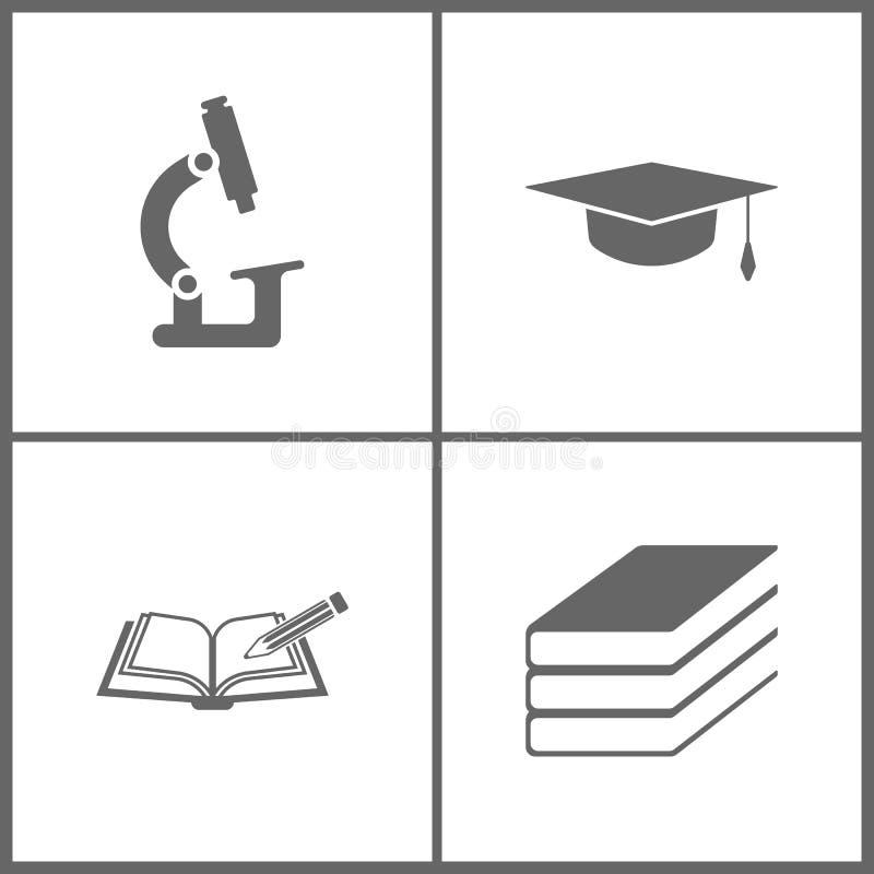 L'illustrazione di vettore ha messo le icone di istruzione dell'ufficio Elementi del microscopio, cappuccio di graduazione, libri royalty illustrazione gratis