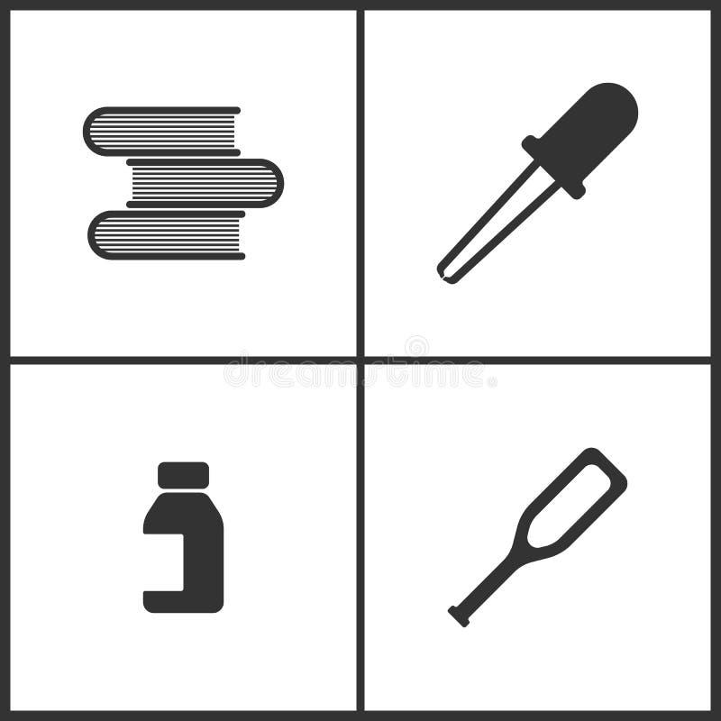 L'illustrazione di vettore ha messo le icone mediche Elementi dei libri, pipetta, la Banca delle pillole e dell'icona delle grucc illustrazione vettoriale