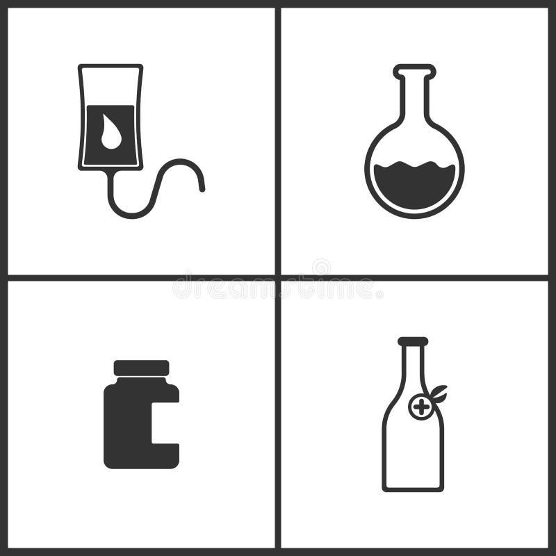 L'illustrazione di vettore ha messo le icone mediche Elementi del contatore di goccia, vetro del laboratorio, la Banca dell'icona illustrazione di stock
