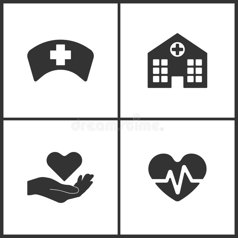 L'illustrazione di vettore ha messo le icone mediche Elementi del dottore Cap, ospedale, salute ed icona di battito cardiaco illustrazione vettoriale
