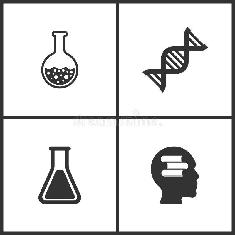 L'illustrazione di vettore ha messo le icone mediche Elementi del vetro del laboratorio, della molecola del DNA, del vetro del la illustrazione vettoriale