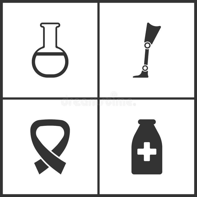 L'illustrazione di vettore ha messo le icone mediche Elementi del vetro del laboratorio, della protesi, dell'AIDS e dell'icona de illustrazione di stock