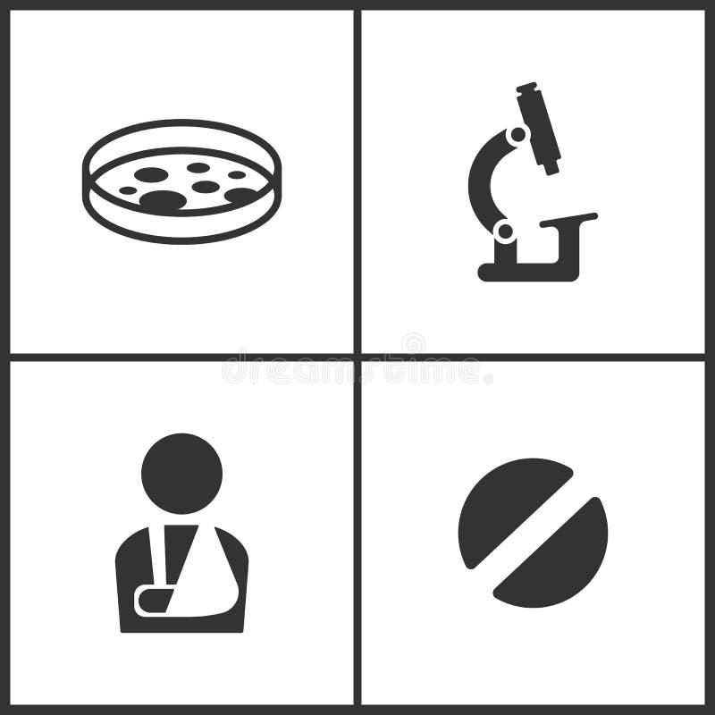 L'illustrazione di vettore ha messo le icone mediche Elementi della provetta, del microscopio, dell'uomo danneggiato e dell'icona royalty illustrazione gratis