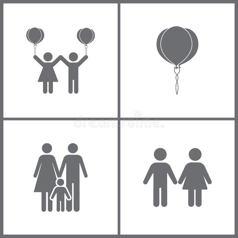 L'illustrazione di vettore ha messo le icone di relazione dell'ufficio Elementi della ragazza, del ragazzo e dell'icona della fam royalty illustrazione gratis