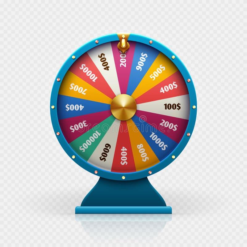 L'illustrazione di vettore isolata ruota di fortuna delle roulette 3d per fondo di gioco e la lotteria vincono il concetto illustrazione vettoriale