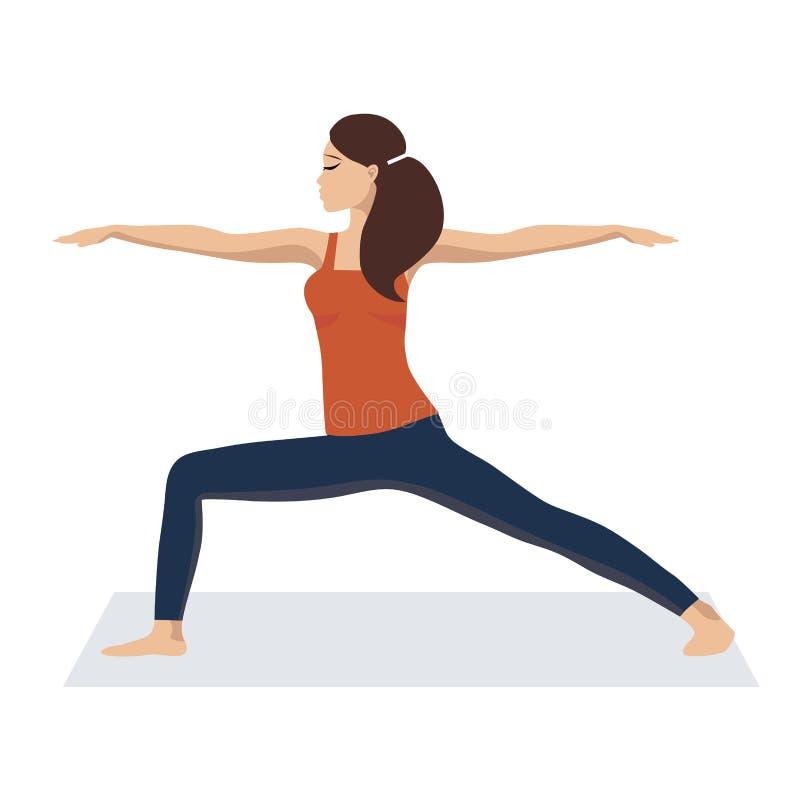 L'illustrazione di vettore la ragazza è impegnata nell'yoga e calma Rilassi, un buon concetto della gestione di tempo Progettazio illustrazione di stock