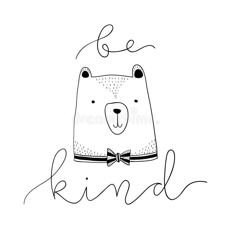 L'illustrazione disegnata a mano del profilo stilizzato dell'orso sveglio con è citazione gentile la progettazione per i bambini  royalty illustrazione gratis