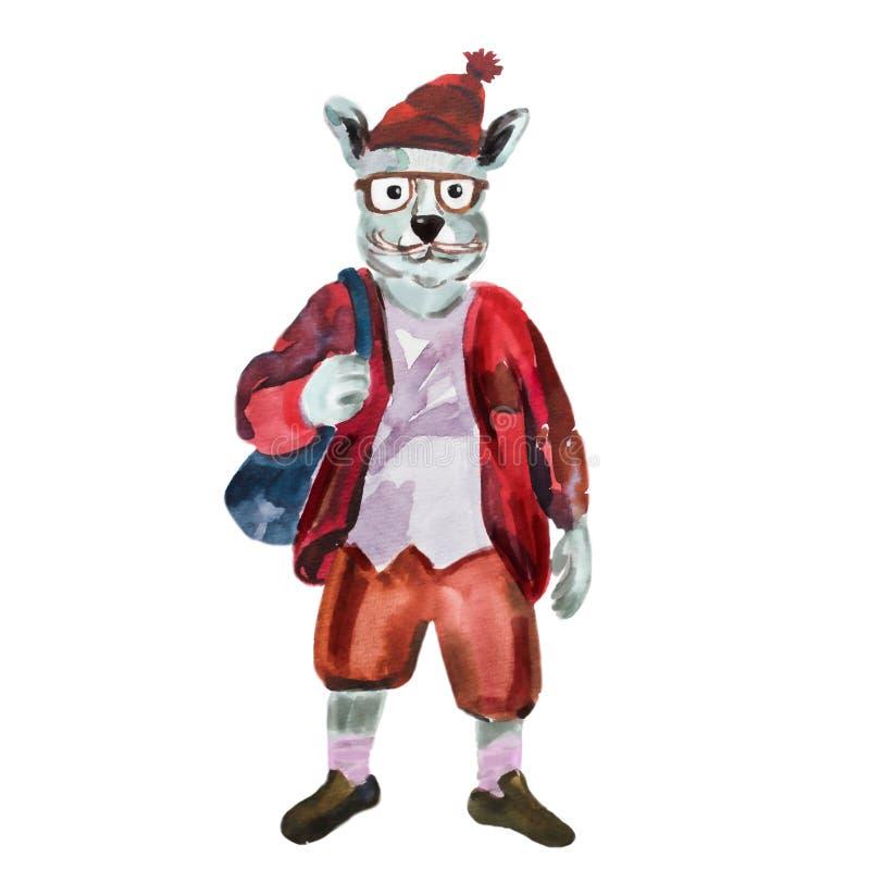 L'illustrazione disegnata a mano della lepre si è agghindata nello stile alla moda illustrazione di stock