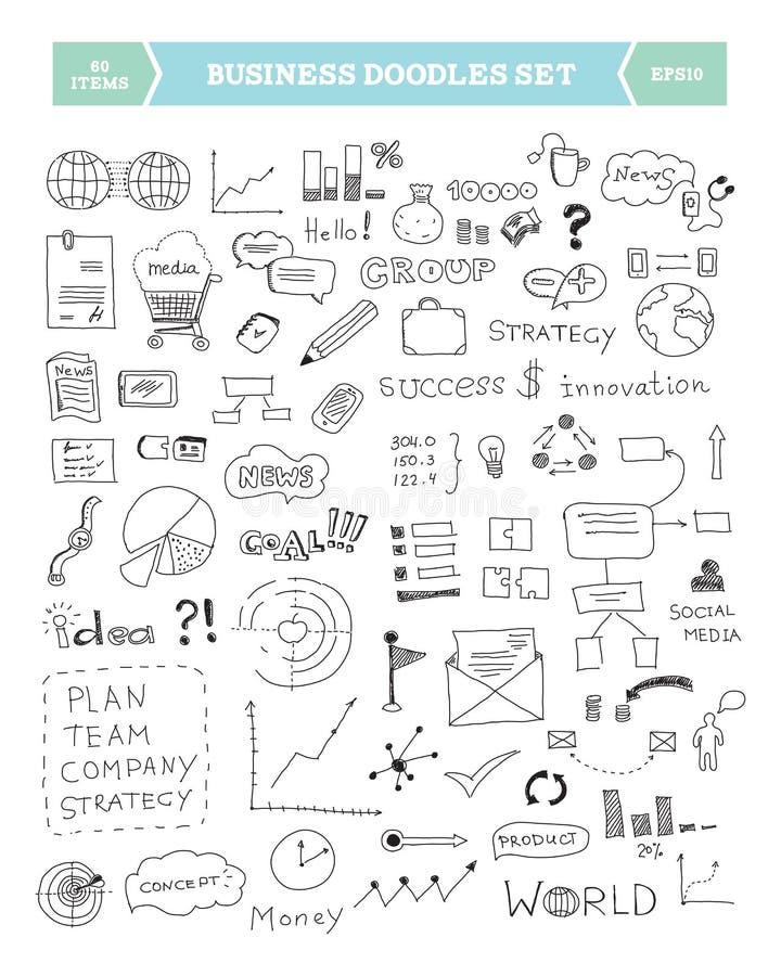 Insieme di elementi di doodle di affari illustrazione di stock