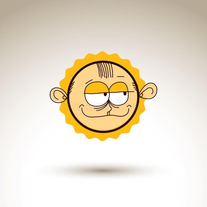 L'illustrazione disegnata a mano variopinta di vettore del ragazzo ingannevole del fumetto è illustrazione di stock