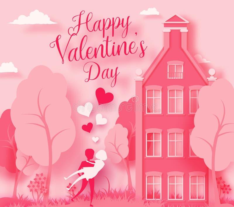 L'illustrazione felice del taglio della carta dell'estratto del giorno 3d del ` s del biglietto di S. Valentino del paesaggio di  illustrazione vettoriale