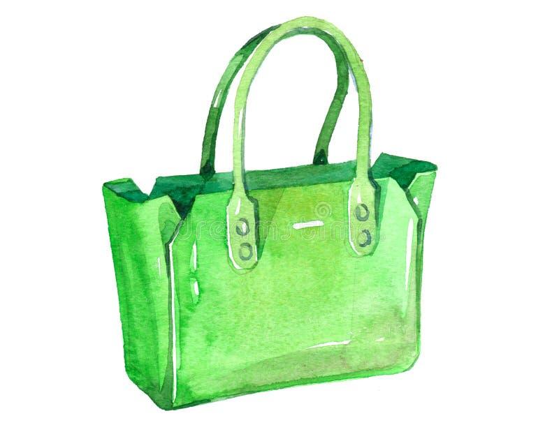 L'illustrazione femminile della borsa delle donne dell'acquerello ha isolato illustrazione di stock