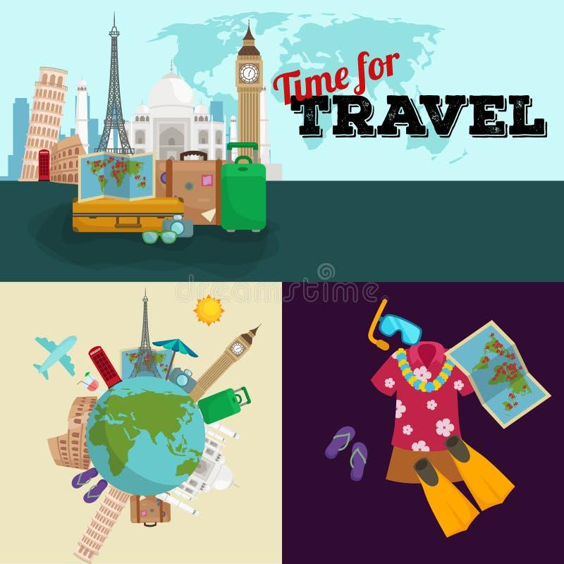 L'illustrazione, il turismo e la vacanza di vettore di concetto di viaggio scattano la pianificazione illustrazione di stock