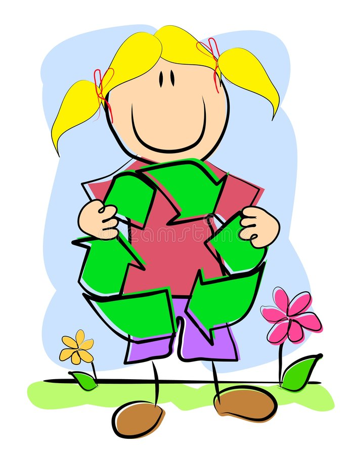 L'illustrazione infantile ricicla il simbolo illustrazione di stock