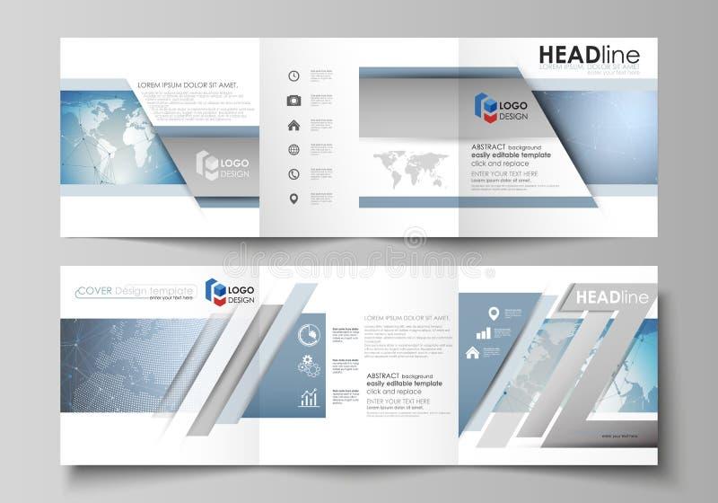 L'illustrazione minimalistic di vettore della disposizione editabile Due modelli creativi moderni di progettazione delle copertur illustrazione vettoriale
