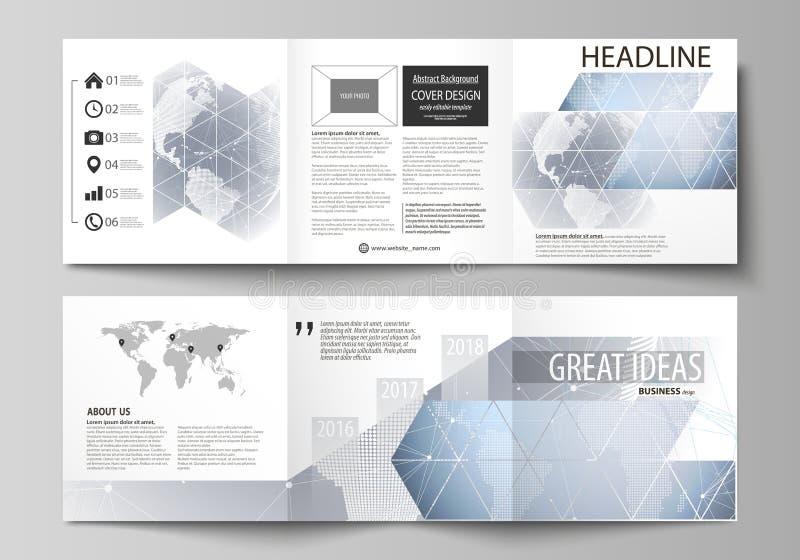 L'illustrazione minimalistic di vettore della disposizione editabile Due modelli creativi moderni di progettazione delle copertur illustrazione di stock