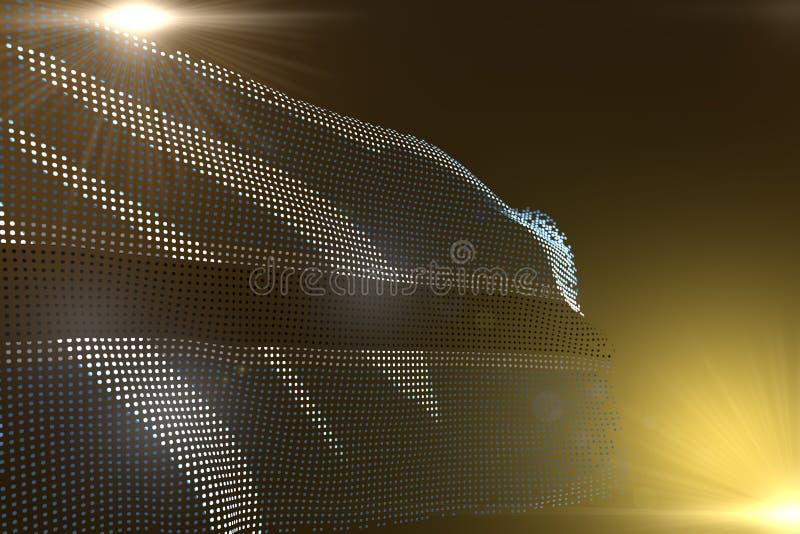 L'illustrazione moderna sveglia della bandiera del Botswana ha fatto dei punti che ondeggiano su giallo con spazio vuoto per il v illustrazione vettoriale