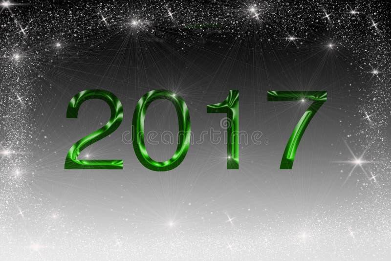 L'illustrazione 2017 nel colore verde su fondo in bianco e nero con scintillare stars fotografia stock