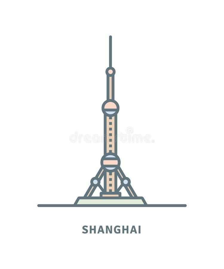 L'illustrazione orientale di vettore della torre della radio e della televisione della perla royalty illustrazione gratis
