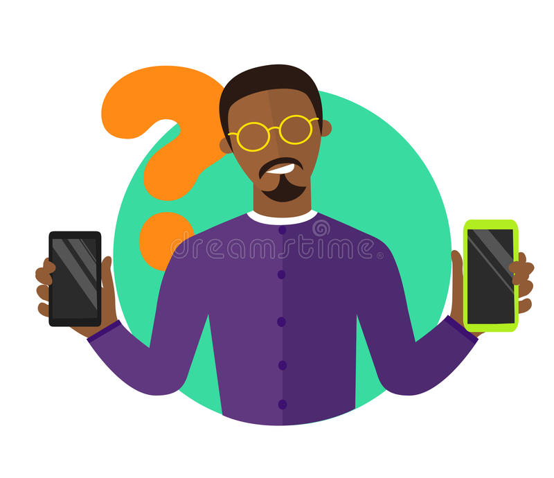 L'illustrazione piana di progettazione di selezione mobile, uomo di colore che sceglie lo smartphone, ha isolato il segno, icona  royalty illustrazione gratis