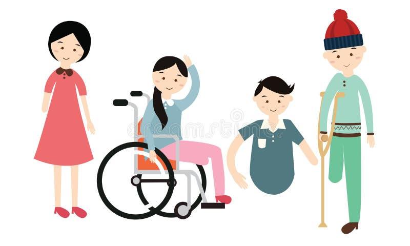 L'illustrazione piana di vettore dei disabili del giorno di inabilità del mondo disattiva illustrazione di stock