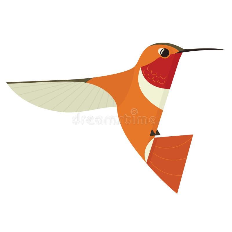 L'illustrazione piana di vettore del fumetto geometrico dell'icona dell'uccello del ronzio ha stilizzato l'animale isolato illustrazione vettoriale