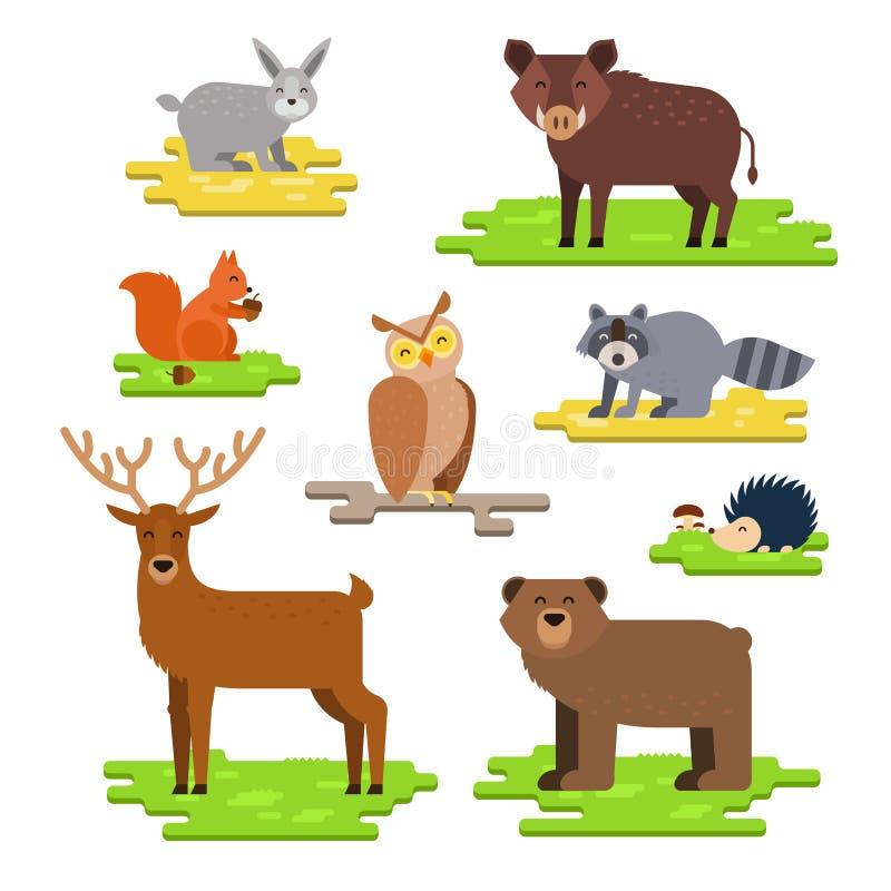 L'illustrazione piana di vettore messa animali della foresta con la lepre, il cinghiale, lo scoiattolo, il gufo, il procione, l'i royalty illustrazione gratis