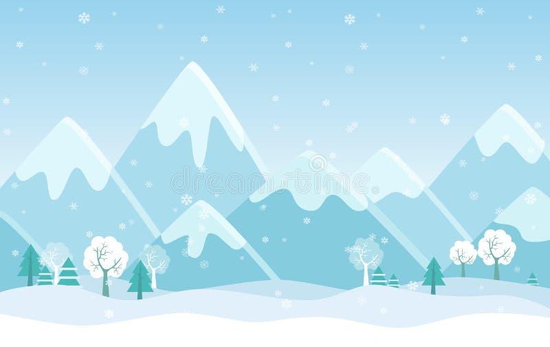 L'illustrazione piana semplice di vettore delle montagne dell'inverno abbellisce con gli alberi, i pini e le colline illustrazione di stock