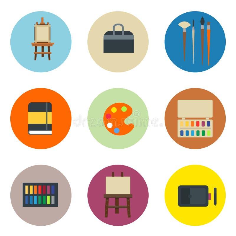 L'illustrazione piana stabilita di vettore dell'icona della tavolozza degli strumenti di arte della pittura dettaglia l'attrezzat illustrazione vettoriale
