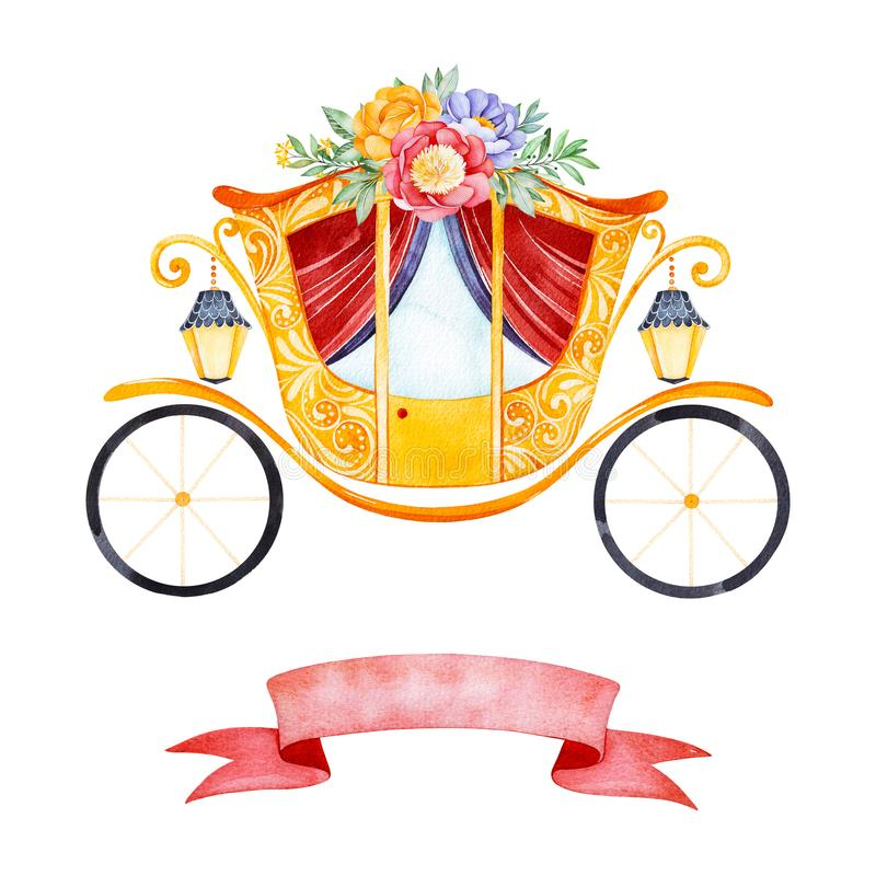 L'illustrazione romantica con principessa del trasporto ha decorato i fiori adorabili, le foglie, i rami ed il nastro rosa illustrazione vettoriale