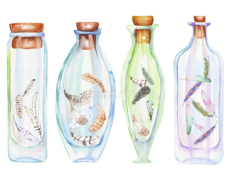 L'illustrazione romantica e le bottiglie dell'acquerello di favola con aria mette le piume a dentro illustrazione vettoriale