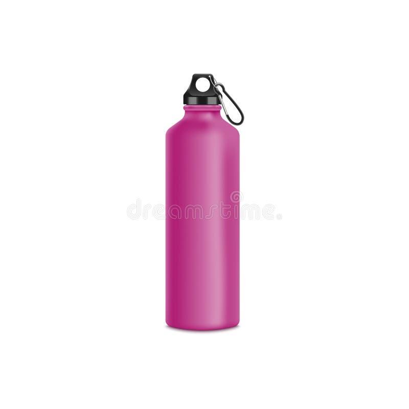 L'illustrazione rosa del modello di vettore della bottiglia 3d dell'acqua di sport o di viaggio ha isolato royalty illustrazione gratis