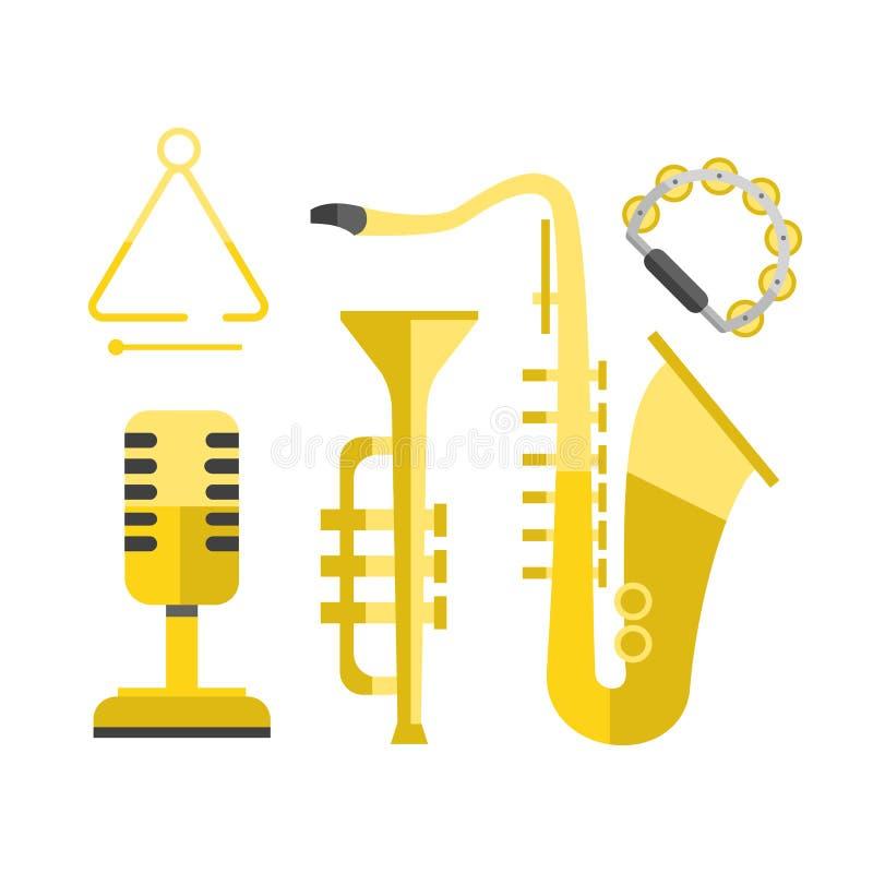 L'illustrazione sana classica di vettore dello strumento di musica dell'icona dell'oro del sassofono e la banda dorata di spettac illustrazione vettoriale