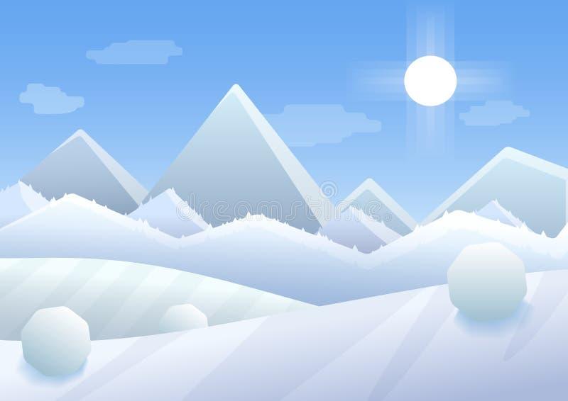 L'illustrazione semplice del fumetto di vettore delle montagne dell'inverno abbellisce con gli alberi e le colline royalty illustrazione gratis