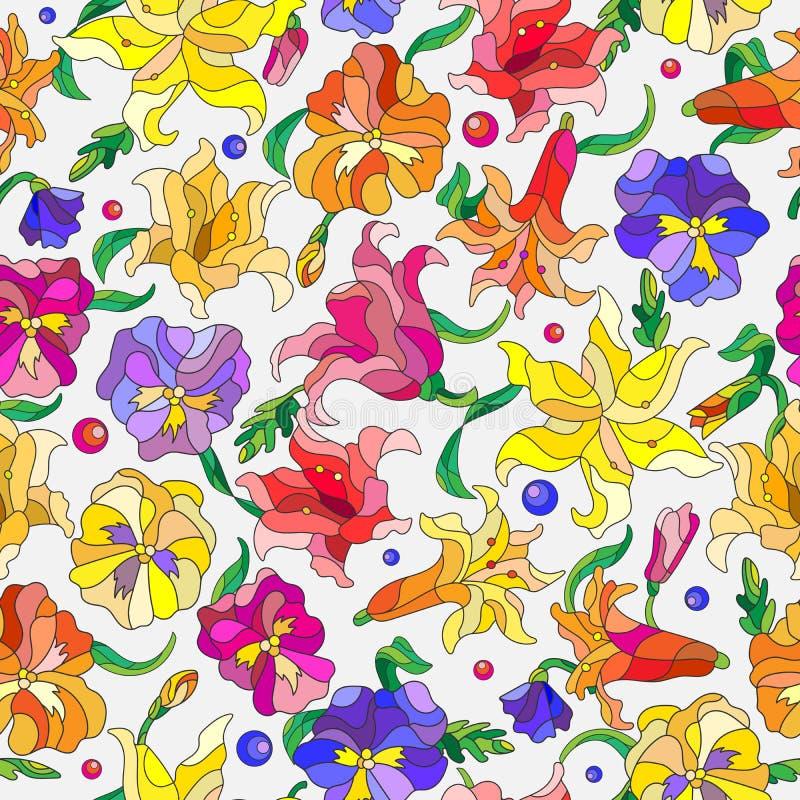 L'illustrazione senza cuciture con l'estratto fiorisce i gigli e le viole del pensiero illustrazione di stock
