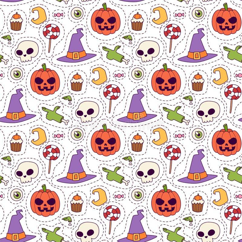 L'illustrazione senza cuciture di vettore del fondo del modello di carnevale di Halloween con l'autunno spettrale di ottobre del  illustrazione vettoriale