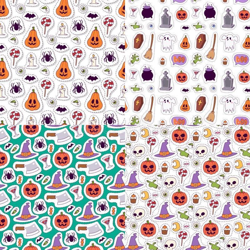 L'illustrazione senza cuciture di vettore del fondo del modello di carnevale di Halloween con l'autunno spettrale di ottobre del  royalty illustrazione gratis