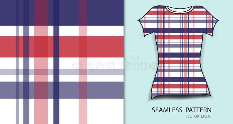 L'illustrazione senza cuciture di vettore del modello di progettazione della maglietta, del plaid del tartan rosso e blu, struttu illustrazione di stock