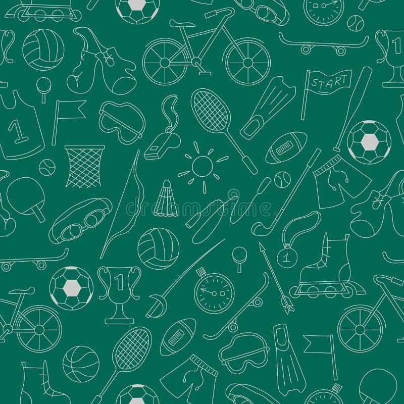 L'illustrazione senza cuciture sul tema dell'estate mette in mostra, icone semplici di contorno su fondo verde scuro illustrazione di stock