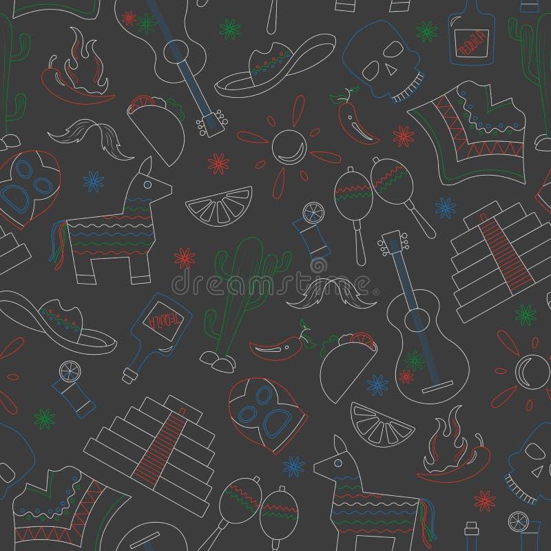 L'illustrazione senza cuciture sul tema della ricreazione nel paese del Messico, icone di contorno è disegnata con i gessi colora illustrazione di stock