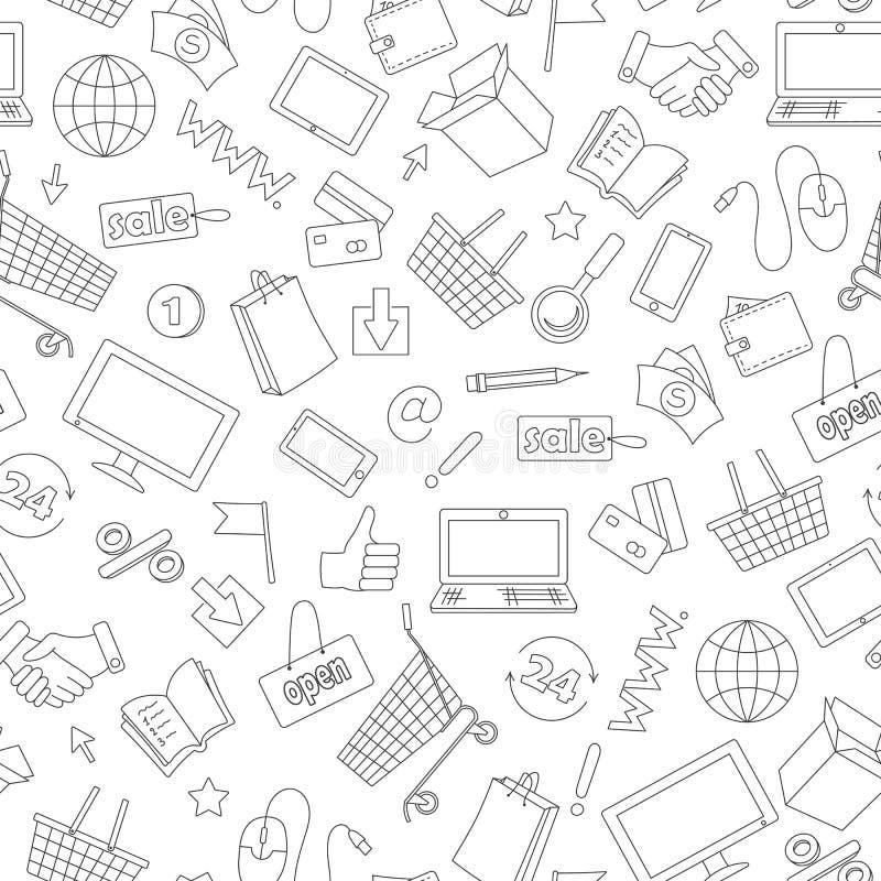 L'illustrazione senza cuciture sul tema di acquisto e di Internet online compera, icone scure di contorno su fondo bianco illustrazione vettoriale