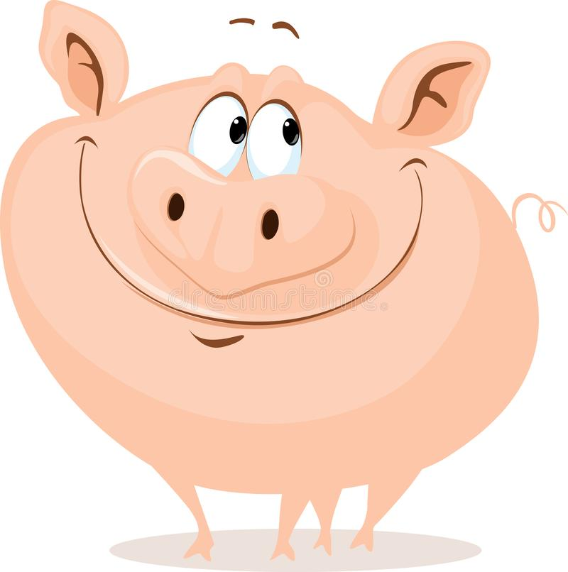 L'illustrazione sorridente del fumetto di vettore del maiale grasso sveglio illustrazione di stock