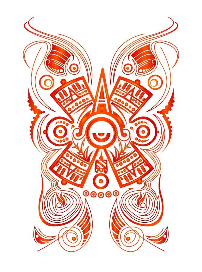L'illustrazione stilizzata di vettore di simbolo di concetto azteco maya, tatua lo stile tribale illustrazione vettoriale