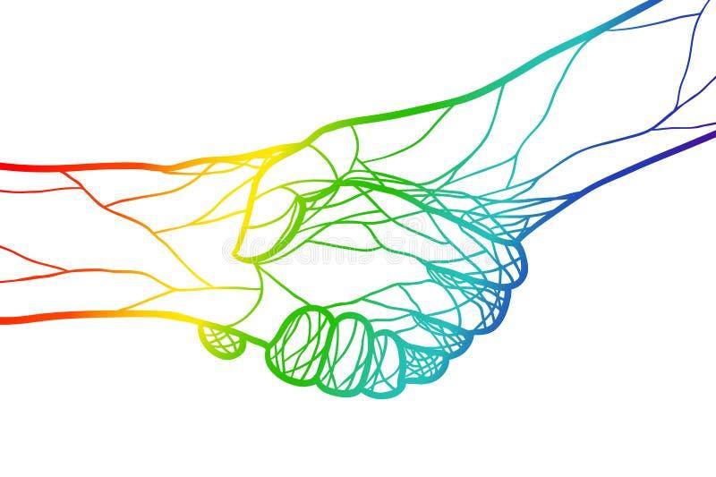 L'illustrazione stringe le mani iridescenti illustrazione vettoriale